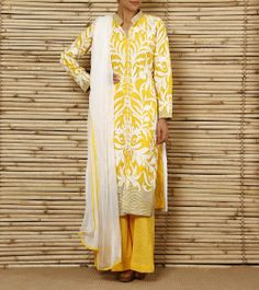 Yellow and Off White Chanderi Suit with Palazzo Pants | by Sanskriti