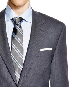 Canali Fine Stripe Siena Classic Fit Suit | Wool | Dry clean | Made in Italy | Sport coat: notch lapel, chest slip pocket, two front flap pockets, two-button closure, four nonfunctional sleeve button