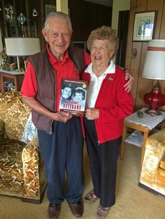 Fighter ace Stocky Edwards and his wife Toni of Comox, B.C., both veterans of the Royal Canadian Air Force, are pictured on the cover of my book: My Favourite Veterans: True Stories From World War Two's Hometown Heroes. I visited them in September 2016 and gave them a copy of my book. They were delighted. For more: www.elinorflorence.com/blog/stocky-edwards.