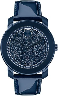 Movado Bold Ladies Bold Navy Glitz Watch With Patent Leather Strap in Blue  (Navy) 2c60b14fe5878