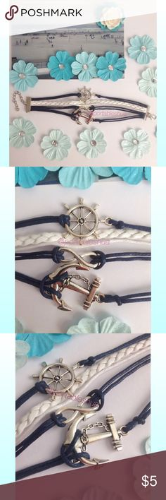 BNWOT - Nautical Sailor Theme Bracelet BNWOT - Navy Blue and White Nautical Sailor Theme Bracelet. Adorable bracelet with adjustable lobster clasp. Colors are navy blue, white, and silver. Unfortunately, I never came across to wearing it. No damage. Charms (going down second picture): ship wheel, infinity sign, and an anchor. Very cute. Jewelry Bracelets