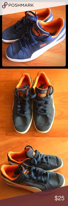 Boys Puma sneakers Boys blue & orange Puma sneakers. Size 4.5. Only worn once or twice, in great condition. Puma Shoes Sneakers