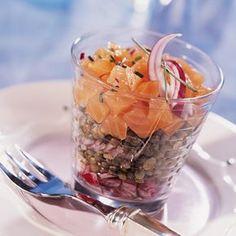 Découvrez la recette Salade de lentilles vertes au saumon fumé sur cuisineactuelle.fr.