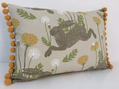 Your place to buy and sell all things handmade Bolster Cushions, Throw Pillows, March Hare, Pom Pom Trim, Free Uk, Dandelion, Feather, Yellow, Cover