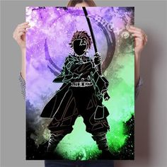 Popular Japanese Anime Watercolor Poster /Super game/Monkey King/One Punch Man/Spirited Away/Canvas Painting o74 - 60cmx85cm No Frame / 23