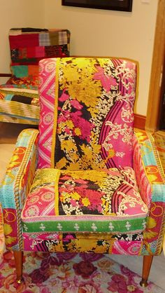 Gorgeous Kantha covered chair via Material Obsession