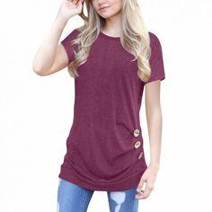 2865b06e9a6 Women shirt tunic summer fashion short sleeve loose button trim blouse tops  solid o neck tunic shirts blusas mujer de moda 2018  women  solid  o-neck  ...