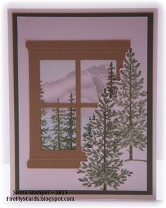 Lovely as a Tree window card by - Cards and Paper Crafts at Splitcoaststampers Outdoor Christmas Tree Decorations, Christmas Tree Themes, Christmas Cards, Christmas Tree Graphic, Real Christmas Tree, Blossom Tree Tattoo, Birch Tree Wedding, Family Tree Frame, Tree Wedding Invitations