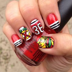 Blackhawks theme manicure!  #chicagoblackhawks #nailart #blackhawks