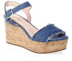 Kate Spade New York Tomas Denim Wedge Sandals Denim Pumps, Denim Boots, Kate Spade, Wedge Sandals, Wedge Shoes, Clearance Shoes, Cute Shoes, Awesome Shoes, Latest Fashion For Women