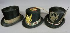 Three Beaver Top Hats Worn by Native Americans - Two are signed Knox of New York and the other is Johnson-McFee Co. - all in as found condition