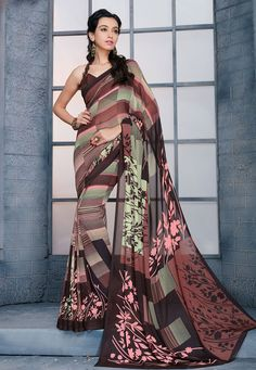 Buy Printed Georgette Saree in Brown online, work: Printed, color: Brown, usage: Casual, category: Sarees, fabric: Georgette, price: $18.56, item code: SHK1400, gender: women, brand: Utsav