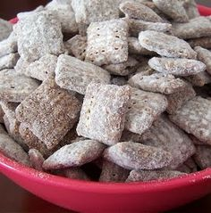 This is THE correct way to make Puppy Chow!!  Doesn't have to be chocolate Chex/Crispix, regular works fine.  And it can be microwaved instead of stovetop.