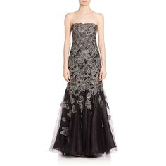 ALBERTO MAKALI Strapless Floral Applique Gown ($690) ❤ liked on Polyvore featuring dresses, gowns, apparel & accessories, gunmetal, erika strapless floral-print gown, strapless evening gown, floral print evening gown, mermaid dress and floral applique dress