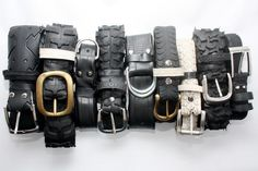 Belts made from old tires and inner tubes. Benidorm, Spain, España