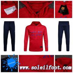 Faibles Sweat Capuche Survetement De Foot FC Barcelone Homme Rouge 2016 2017 Kits Pas Cher