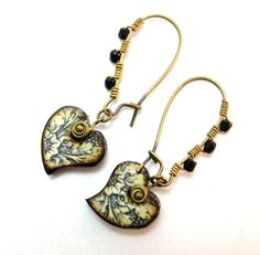Vintage Style Earrings, Black and Aged White Toile Style Heart Earrings