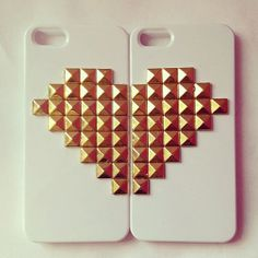 Matching Couple Phone Cases - Custom Best Friends iPhone Cases - Studded iPhone Case - Unique Wedding Gifts for Couple