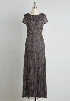Acclaim it as Your Own Dress in Slate - Grey, Beads, Special Occasion, Prom, Cocktail, Holiday Party, Homecoming, Vintage Inspired, 20s, A-line, Maxi, Short Sleeves, Woven, Best, Sparkly2015, Long, Mixed Media, Variation