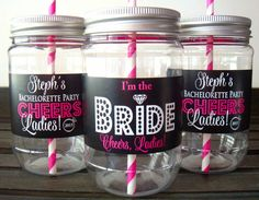 Cheers to the Bride! For a vintage touch with a modern twist for your bachelorette party, this set of reusable Mason jar cups will add layers of