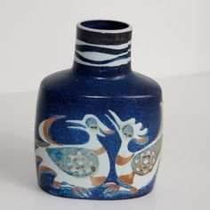 Nils Thorsson Bird Pottery Vase Blue Fajance Royal Copenhagen