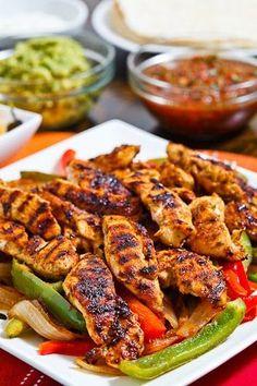 Chicken Fajitas ~ marinated in some lime juice, chili powder, cumin, oregano and garlic