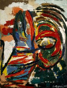 The Crying Crocodile Tries to Catch the Sun, 1956, oil on canvas, Dutch, Karel Appel