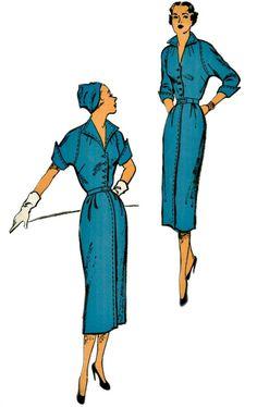 1940s Vintage Sheath Pattern - NEW YORK 1008 - Lovely Raglan Sleeve Sheath with Flyaway Collar - UNCUT Factory-Folded - Bust 30