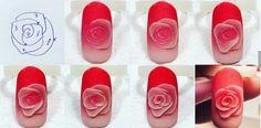 Rose tutorial Nail Art Fleur, Rose Nail Art, Rose Nails, 3d Nail Art, 3d Acrylic Nails, Acryl Nails, 3d Nails, Pastel Nails, Silk Nails