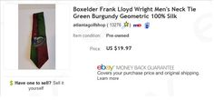 Frank Lloyd Wright tie $2 at thrift store, sold for $19.97  Learn to sell used items on eBay