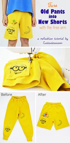 Kids grow out of their trousers and rip holes in the knees quickly. But don't throw those ruined clothes away! It's quick and easy to turn old pants into shorts with the help of the sewing machine free arm! Easy Sewing Projects, Sewing Hacks, Sewing Tutorials, Sewing Patterns, Diy Projects, Love Sewing, Sewing For Kids, Headband Tutorial, Good Tutorials