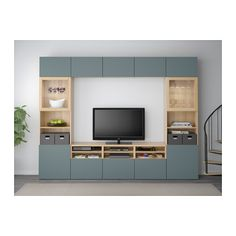 BESTÅ TV storage combination/glass doors, white stained oak effect, Valviken grey-turquoise clear glass white stained oak effect/Valviken grey-turquoise clear glass drawer runner, soft-closing 300x40x230 cm