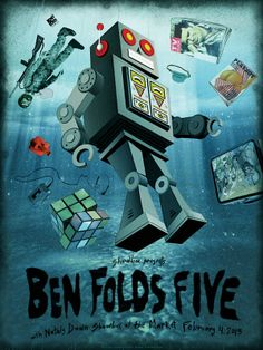 Ben Folds Five! Seattle- by Jon Smith  4 color screen printed poster for Ben Folds Five at Showbox at the Market.   Signed and numbered edit...