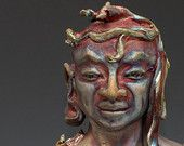 Buddha Inside The Bodhi Tree - a raku ceramic sculpture by Anita Feng