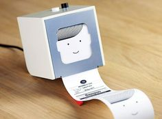 The Little Printer by BERG. Little Printer lives in your home, bringing you news, puzzles and gossip from your friends. Use your smartphone to set up subscriptions and Little Printer will gather them together to create a timely, beautiful mini-newspaper. Tech Gadgets, Cool Gadgets, Office Gadgets, Thermal Printer, Geek Decor, Cool Tech, Sem Internet, Radios, Scrapbook
