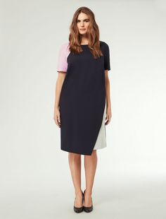 Marina Rinaldi OMBRA dark navy: Asymmetric colour block dress.
