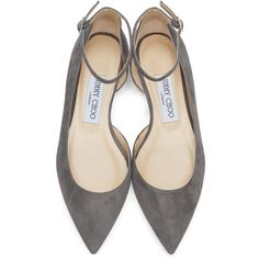 JIMMY CHOO Grey Suede Lucy Flats (8 135 ZAR) ❤ liked on Polyvore featuring shoes, flats, pointed toe ballet flats, pointed-toe ankle-strap flats, ballet flat shoes, ankle strap flats and ballet flats
