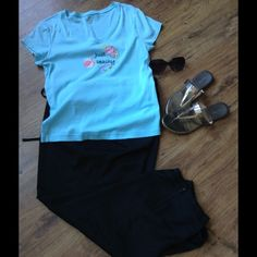 Flash SALE TodaySoft Knit Tee Pretty turquoise summer tee shirt. V-neck and short sleeves. Worn only a few times.  100% cotton. No stains or tears. Adonna Tops Tees - Short Sleeve