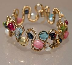 Wrapped wire--great idea for assted leftover beads  **********************************************