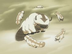 Appa! I love him and if I could have just one fictional animal it would be a baby sky bison! I must settle for a fluffy white dog I will some day name Appa.  I'm not an anime person but Avatar is a cute show.