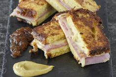 Sweet and Savory French Toast Grilled Cheese - French toast grilled cheese is stuffed with Swiss and ham and is the perfect brunch sandwich recipe - Best Grilled Cheese Sandwich Recipe, Grilled Cheese Recipes, Milk Recipes, Cooking Recipes, Cooking Tips, Savoury French Toast, Overnight French Toast, French Toast Casserole, Breakfast Casserole