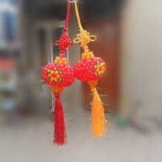 3D beadwork Red Lantern Creative Heart-shape Car Hanging Decorative Ornament