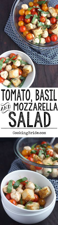 Fresh diced tomatoes, mozzarella, and seasoned croutons make a nice summer meal in this recipe for Tomato, Basil, and Mozzarella Salad. Easy Green Salad Recipes, Side Salad Recipes, Salad Recipes For Dinner, Side Dish Recipes, Veggie Recipes, Lunch Recipes, Summer Recipes, Pasta Recipes, New Recipes