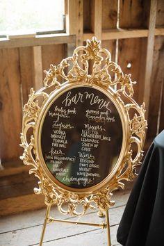Gold wedding bar signage | Erica Rose Photography