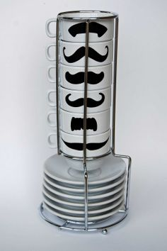 White Mustache Espresso Mugs and Saucers - set of 6 and a chrome holder. $35.00, via Etsy.