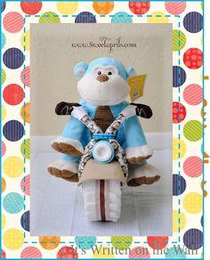 {Tutorial}  Monkey Motorcycle Diaper Cake-Baby Shower Gift
