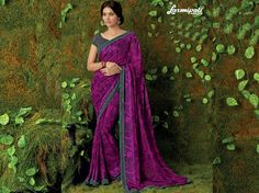 Look Royal with Our Purple Jute & Georgette Saree with Purple Rawsilk Blouse along with Rawsilk Printed Lace Border from Laxmipati.com. #Catalogue #SURMAI Price - Rs. 1923.00 #Sarees #ReadyToWear #OccasionWear #Ethnicwear #FestivalSarees #Fashion #Fashionista #Couture #LaxmipatiSaree #Autumn #Winter #Women #Her #She #Mystery #Lingerie #Black #Lifestyle #Life #ColoursOfIndia #HappyBride #WhoYouAre #WomanPower Laxmipati Sarees, Lehenga Saree, Georgette Sarees, Sari, Fancy Sarees, Party Wear Sarees, Saree Collection, Bridal Collection, Saree Shopping
