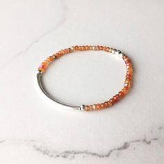Sunshiny Mystic Carnelian stretch bracelet - made for everyday! Just slip on and go! All metal components in sterling silver. ( $35)  #stretchbracelet #beadedbracelet #gemstonebracelet