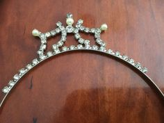 "Vintage Tiara with Rhinestones and ""Pearls"" from the 1950's."