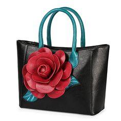 Women Handbag 3D Flower Seris PU Leather Purse Tote Bag By Vanillachocolate (Medium, Black): Handbags: Amazon.com